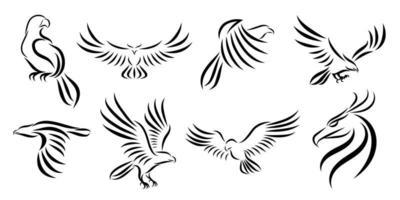 Satz von acht Linienkunstvektorlogos von Adlern vektor