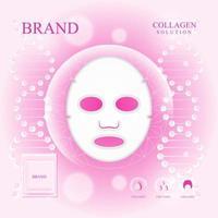 Maske Kollagenserum Anzeige mit rosa Hintergrund vektor