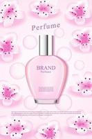 Anzeige für Kirschblütenperfrume mit rosa Wassertropfen vektor