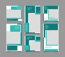 digital branding marknadsföring sociala medier post mall set vektor