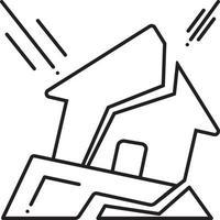 linje ikon för jordbävning vektor