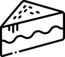 Liniensymbol für ein Stück Kuchen vektor
