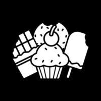 dessert och behandlar glyph-ikonen för mörkt läge vektor