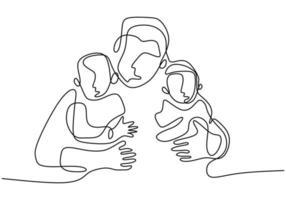 kontinuierliche Strichzeichnung des Vaters mit seinem Baby. glücklicher junger Papa, der sein Kind kümmert und seine Liebe zeigt. fröhlichen Vatertag. Familienzeitkonzept. Minimalismus Design. Vektorillustration vektor