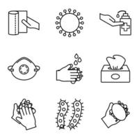covid-19 linje stil ikonuppsättning
