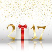 Frohes neues Jahr Hintergrund mit Geschenk vektor