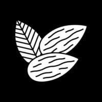 Mandeln dunklen Modus Glyphen-Symbol vektor