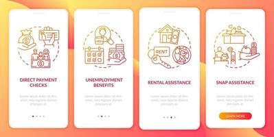 arbetslöshetsförmåner ombord mobilappsskärm med koncept vektor
