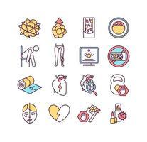 hjärt-kärlsjukdomar färg ikoner set vektor