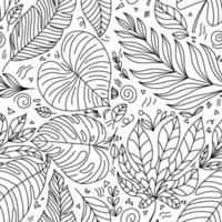 niedliches Vektor-Sommerhand gezeichnetes Blatt nahtloses Muster. Druck mit Blättern. elegante schöne monoline Naturverzierung für Stoff, Verpackung und Textil. Sammelalbum Schwarzweißpapier. vektor