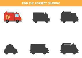 Finde den richtigen Schatten des Feuerwehrautos. logisches Rätsel für Kinder. vektor