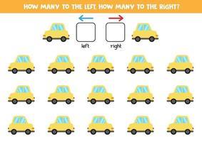 links oder rechts mit dem Auto. logisches Arbeitsblatt für Kinder im Vorschulalter. vektor