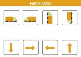 links, rechts, oben oder unten. räumliche Ausrichtung mit Cartoon-Truck. vektor