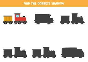 hitta rätt skugga av tåg. logiskt pussel för barn. vektor