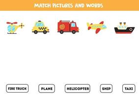 passender Transport und die Wörter. Lernspiel für Kinder. vektor