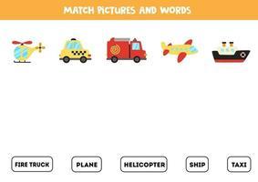 matchande transport och orden. pedagogiskt spel för barn. vektor