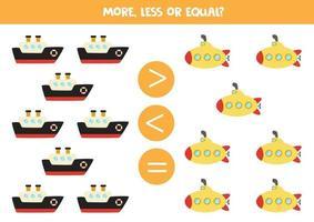 mer, mindre, lika med tecknad fartyg och ubåt. pedagogiskt arbetsblad vektor