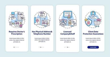 sichere Online-Apotheke Zeichen Onboarding Mobile App Seite Bildschirm mit Konzepten vektor