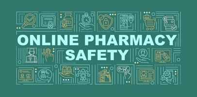 online apotek säkerhet ord begrepp banner vektor