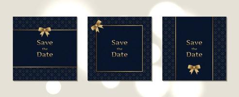 lyxiga bröllopinbjudningskort fyrkantig storlek med mönster och guldram vektor