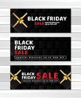 banner svart fredag försäljning på gåvor rutan mönster designmall vektor