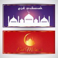 Eid mubarak banderoller vektor