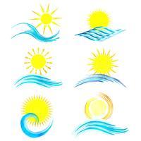 Aquarell-Sommer-Icons vektor