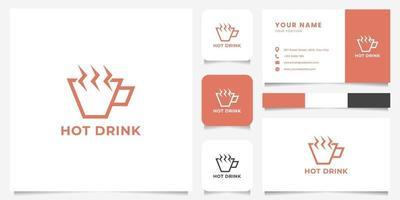 einfache und minimalistische geometrische Tasse und Blitzdampf-Logo mit Visitenkartenschablone vektor