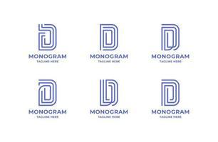 einfaches und minimalistisches Strichgrafikbuchstaben-d-Logo-Set vektor