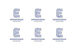 einfaches und minimalistisches Strichgrafikbuchstaben-E-Logo-Set vektor
