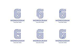 enkel och minimalistisk linje konst bokstaven g logo set vektor