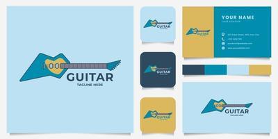 buntes E-Gitarren-Logo mit Visitenkartenschablone vektor