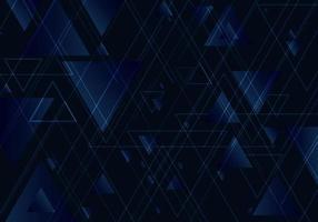 abstrakta blå trianglar formar och linjer på svart bakgrund för affärsteknisk stil vektor