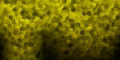 mörkgrön, gul vektorlayout med former av hexagoner. vektor