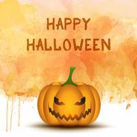 Halloween-Kürbis auf Aquarellhintergrund