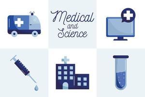 Medizinisches und wissenschaftliches flaches Stilikonensatzvektordesign vektor