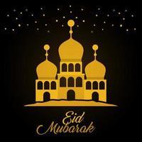 Eid Mubarak Gold Tempel und Sterne Vektor-Design vektor