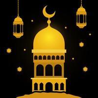 Eid Mubarak Gold Tempel mit Mond Kleiderbügel Laternen und Sterne Vektor-Design vektor