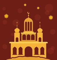 Eid Mubarak Gold Tempel mit Mond und Sterne Vektor-Design vektor