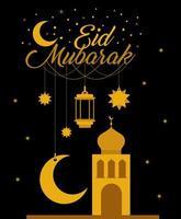 Eid Mubarak Gold Tempel mit Mond Kleiderbügel Laterne und Sterne Vektor-Design vektor