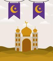 Eid Mubarak Tempel mit Mond und Banner Wimpel Vektor Design