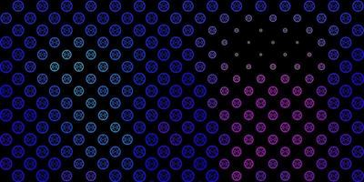 dunkelrosa, blaues Vektormuster mit magischen Elementen. vektor