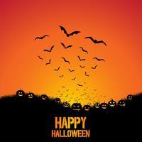 Halloween bakgrund med fladdermöss och pumpor