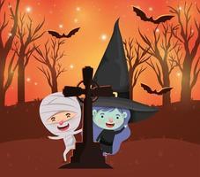 Halloween-Szene mit Kindern in Kostümen auf dem Friedhof vektor