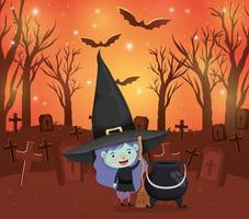 Halloween-Saison Szene mit Mädchen in einem Hexenkostüm vektor