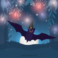 Halloween-Karte mit Fledermaus, die in der dunklen Nachtszene fliegt vektor