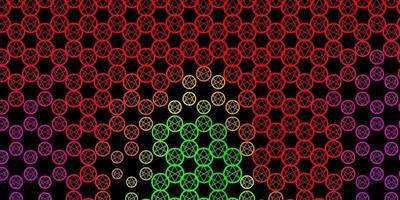 mörkrosa, grön vektorstruktur med religionssymboler.