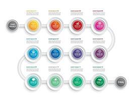 Infografik Zeitleiste 1 Jahr oder 12 Monate Datenvorlage Geschäftskonzeptsatz vektor