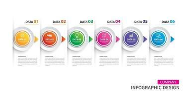 Infografiken Timeline Kreis Papier mit 6 Datenvorlage vektor