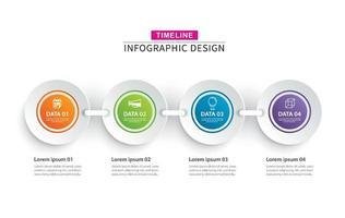 Infografiken Timeline Kreis Papier mit 4 Datenvorlagensatz vektor